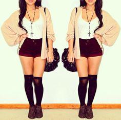Cardi, shorts, knee highs
