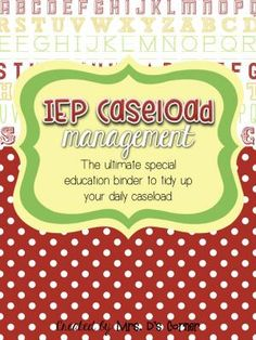 IEP Caseload Management  Apples  - Ultimate IEP Special Education Binder from Mrs. D's Corner on TeachersNotebook.com -  (131 pages)  - Being a caseload manager and a teacher of children with special needs is a wonderful experience that, unfortunately, includes tons of special education jargon and paperwork that can sometimes become overwhelming. This binder is your key to tidying up your