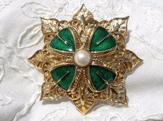 Big Layered Gold Filigree Brooch Green Enamel Shamrock 1960s Monet  Faux Pearl #Monet $35 ebay - or $30