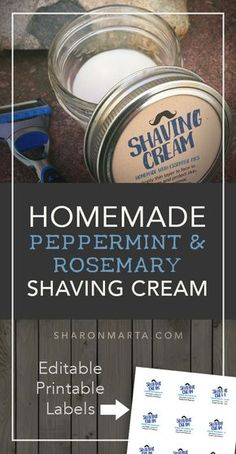 Homemade Peppermin and Rosemary Shaving cream made with essential oils and shea butter
