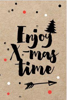 Kraft design kerstkaart met confetti - enjoy x-mas Chrismas Cards, Xmas Cards, Diy Cards, Happy Wishes, Christmas Wishes, Portfolio Kindergarten, Xmas Quotes, Note Doodles, Christmas Drawing