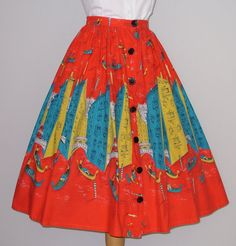 1950s Novelty Print Skirt / Venice by RainbowValleyVintage on Etsy, £75.00
