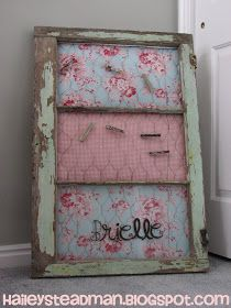 DIY:  Salvaged Window Rescue - tutorial shows how this window frame is repurposed into a memo board.