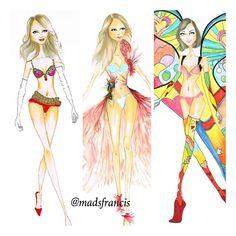 @Candice Swanepoel @erinheathertonlegit @Alice and Penny Kardashian for @Victoria's Secret #victoriassecret #vsfashionshow #fashion #fashionillustration #mode #moda #model #chic #color
