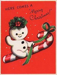 "Marjorie Cooper ""Snow Scamps"" vintage Christmas card snowman riding a candy cane. #vintageChristmas"