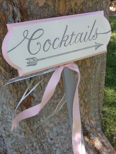 Custom hand painted directional sign for cocktails