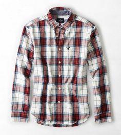 AEO Plaid Button Down Shirt