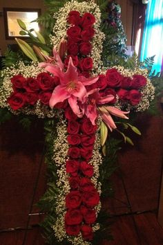 Cross sympathy flowers I made for a friends son