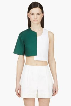 Jacquemus Green And White Off-set Crop Top $335.00 - Buy it here: https://www.lookmazing.com/jacquemus-green-and-white-off-set-crop-top/products/6745720?e=1&shrid=10289_pin