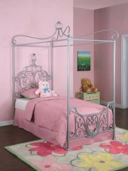 """Powell Furniture Princess Rebecca """"Sparkle Silver"""" Twin Metal Canopy Bed frame sold separately) - - Lowest price online on all Powell Furniture Princess Rebecca """"Sparkle Silver"""" Twin Metal Canopy Bed frame sold separately) -"""