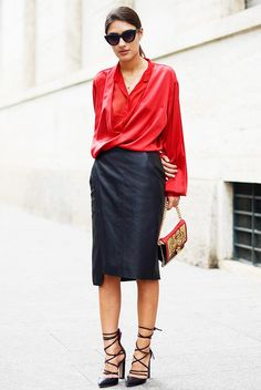 Draped red blouse, leather pencil skirt and black lace-up heels