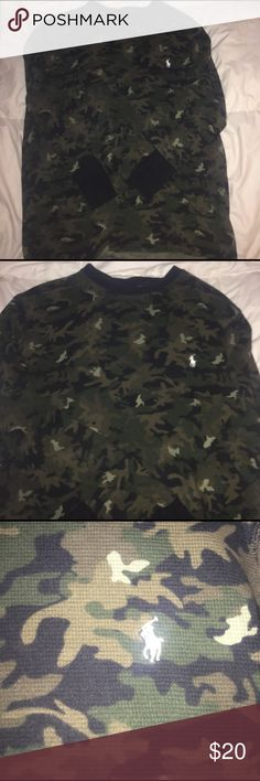 Polo Ralph Lauren Long Sleeve Shirt It's a camo print long sleeve Ralph Lauren Brand shirt . Size Large , check my closet for more polos as well! Polo by Ralph Lauren Shirts Tees - Long Sleeve