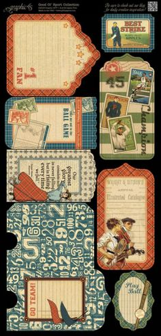 Introducing Good ol' Sport Cardstock Tags & Pockets 2 from Graphic 45 #graphic45 #newcollections