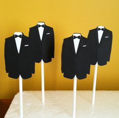 $6 esty TUXEDO CUPCAKE TOPPERS Set of 12. Or use in center pieces Tuxedo Cupcakes, 12 Cupcakes, Wedding Cupcake Toppers, Wedding Cupcakes, Fancy Baby Shower, Cupcake Picks, Diy Christmas Tree, Esty, Center Pieces