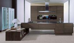 Donker houten moderne keuken