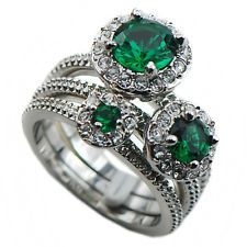 Emerald 925 Sterling Silver Engagement Wedding Three Ring Size 10 F1122
