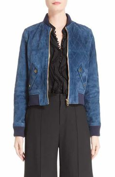 Chloé Quilted Suede Bomber Jacket