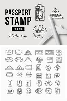 45 Passport Stamp Icons - Travel