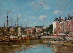Eugène Boudin - Vue de la Leuvehaven à Rotterdam (1870)