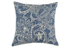 One Kings Lane - All-American - Mardi Gras 17x17 Cotton Pillow, Navy