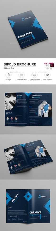 Bifold Brochure  — InDesign Template #clean #office • Download ➝…