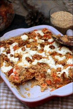 2020 - Sweet potato and fresh goat cheese quinoa gratin ~ Happy taste buds Vegan Breakfast Recipes, Vegan Recipes, Cooking Recipes, Diet Recipes, Plat Vegan, Breakfast Platter, Food Porn, Healthy Recepies, Healthy Food