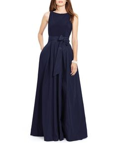 A taffeta skirt adds an air of glamour to Lauren Ralph Lauren's floor-sweeping gown, while a soft jersey bodice maximizes comfort and elegance. | Bodice & bodice lining: polyester/elastane; skirt: pol