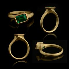 It's all about the emerald in this design, carved and cast the ring is made in 18ct and 22ct yellow gold, £6500 #arris #goldring #emeraldring #greengemstone