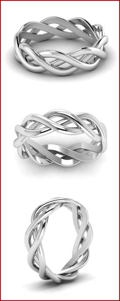 Made in Solid White Gold, this interwined Eternity mens engagement rings is a steal deal