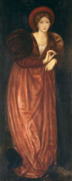 « Fatima » de Sir Edward Burne-Jones : Ce tableau quasi inconnu, raconte l'histoire de la femme de Barbe bleue, avec sa robe de style Renaissance, dans les tons de roux très automnal; il l'a peinte au moment où elle est entrain de tourner la clé dans la serrure et comprend immédiatement qu'elle n'aurait pas dû..