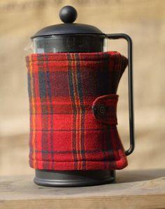 tartan coffee cosy