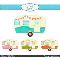 Vintage Caravan Clip Art Car Retro Caravans By Petittatti