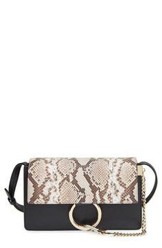 Chloé  Small Faye  Genuine Python  amp  Leather Shoulder Bag available at   Nordstrom 16bfaf72bcdf9