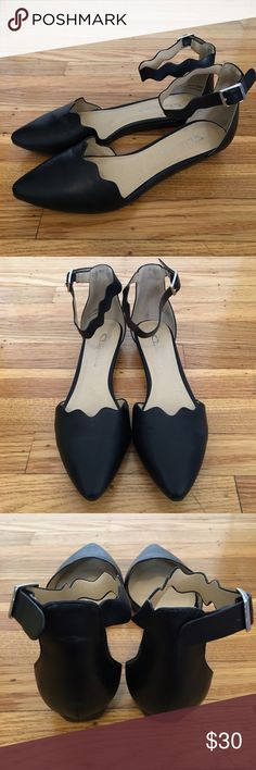 """cl by laundry studio d'orsay black flat cl by laundry studio d'orsay flat in black. 1"""" wedged heel. scalloped detail. only worn twice! Chinese Laundry Shoes Flats & Loafers"""