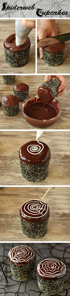 How to make easy spiderweb cupcakes | From SugarHero.com #HalloweenFood #Family #ShermanFinancialGroup