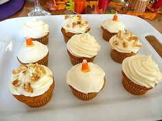 Pumpkin Cupcakes with Cream Cheese Frosting, ala Martha Stewart. Everyone loves these. I make them with pecans.