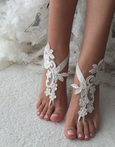 e8e9ceda11219 white or ivory lace barefoot sandals wedding barefoot Flexible wrist lace sandals  Beach wedding barefoot sandals Wedding sandals Bridal Gift