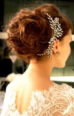 Bride's messy bun bridal hair bridal hair Toni Kami Wedding Hairstyles ♥ ❷ Wedding hairstyle ideas  Swarovski headpiece