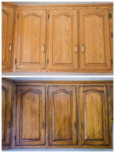 DIY Staining Oak Cabinets – Eclectic Spark DIY Staining Oak Cabinets – Eclectic Spark - White N Black Kitchen Cabinets Staining Oak Cabinets, Honey Oak Cabinets, Wood Cabinets, Updating Oak Cabinets, Painted Oak Cabinets, Restaining Kitchen Cabinets, How To Restain Cabinets, Dark Oak Cabinets, Cupboards