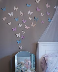 DIY Paper Butterfly Accent Wall