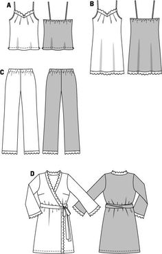 This pattern features precious lingerie, nicely ornamented with lace trimming. A Burda Style sewing pattern. Dress Drawing, Drawing Clothes, Barbie Clothes, Diy Clothes, Cotton Nighties, Sewing Lingerie, Kimono Pattern, Fashion Design Drawings, Fashion Portfolio