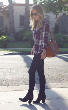 flannel shirt & black skinny jeans & black ankle boots