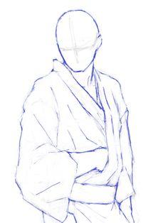 浴衣3 Drawing Body Poses, Body Reference Drawing, Drawing Reference Poses, Body Sketches, Anatomy Sketches, Art Drawings Sketches, Drawing Base, Manga Drawing, Anime Male Base