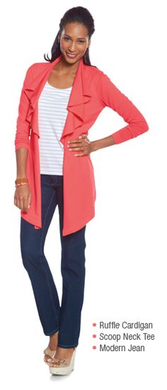 Love the new Jockey P2P Ruffle Cardi  $64  In coral, navy blue, and well-worn leather.