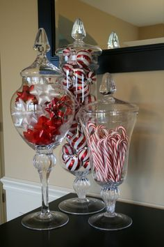 Apothecary glass jar Christmas decorations. Very sophisticated and stylish I think :)