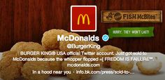 A McDonald's fan hacked into Burger King's social media. Read more on the crisis. Mcdonalds, Burger King Usa, Fast Food Chains, Reputation Management, Social Media Marketing, Marketing News, Inbound Marketing, Internet Marketing, Accounting