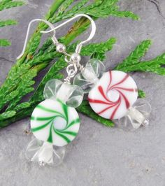 Christmas Earrings Candy Glass Green Red White Mints Handmade Holiday | LindaLandigJewelry - Jewelry on ArtFire