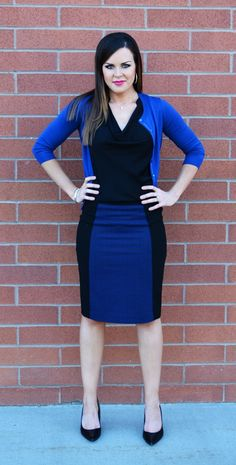 Love this Black & Blue outfit! perfect for work...  (from LiveGorgeous.tv )