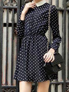 Shop Navy Polka Dot Shirt Dress With Long Sleeve from choies.com .Free shipping Worldwide.