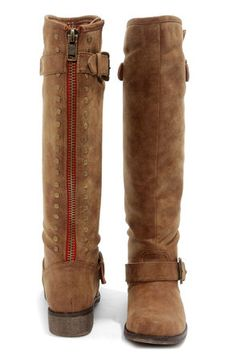 Madden Girl Cactuss Cognac Studded Knee-High Riding Boots at Lulus.com!